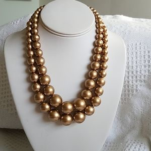 Vintage Double Strand Gold Bead Necklace